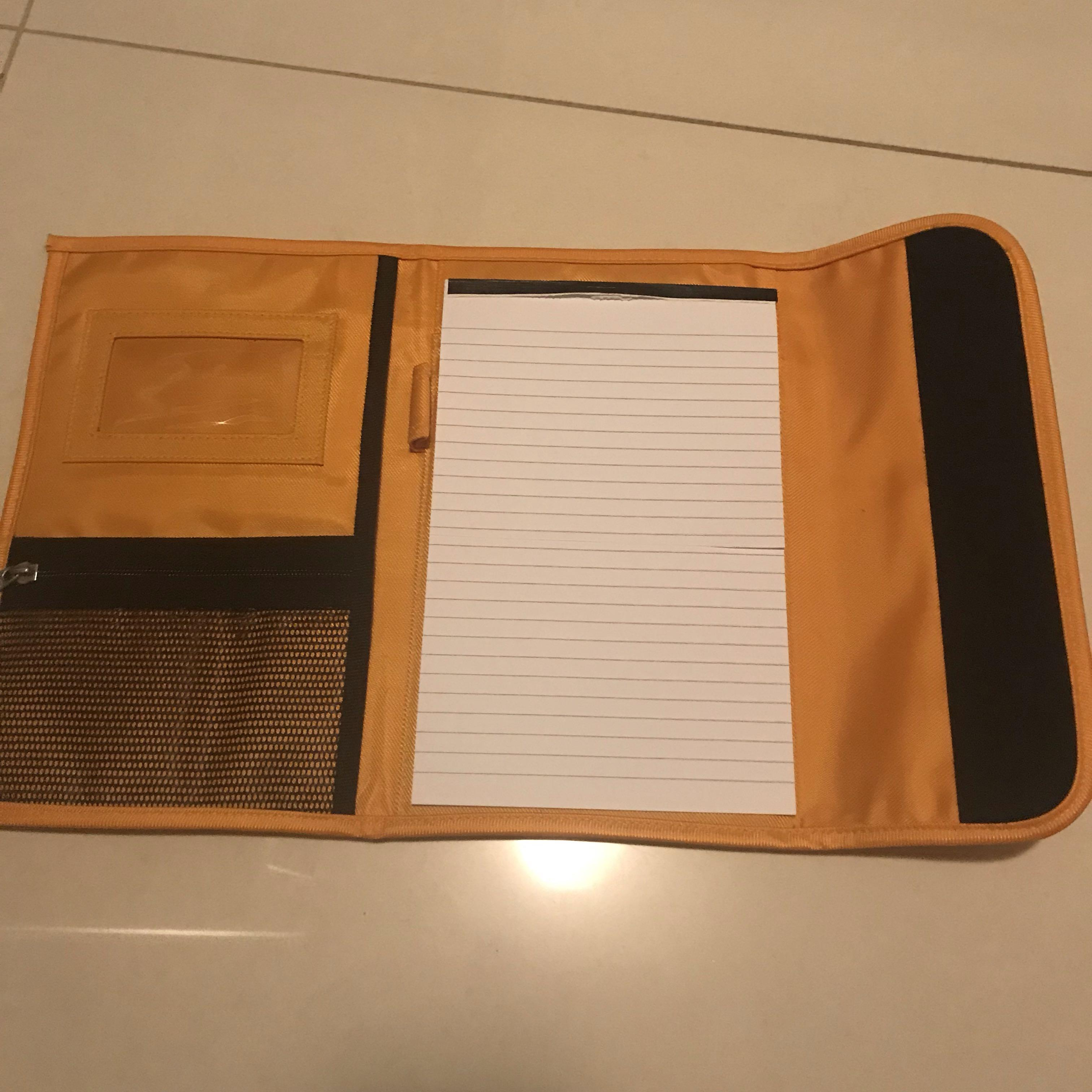 Fold up notepad folder with pen holder and zip pocket and ID section