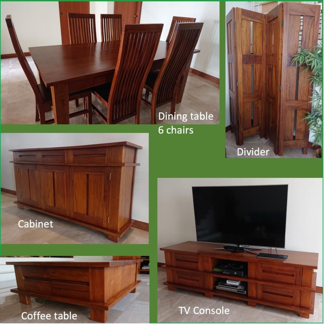 Last Call 22 10 Solid Teak Wood Set Dining Table And Chairs Cabinet Tv Console Coffee Table Divider Furniture Others On Carousell
