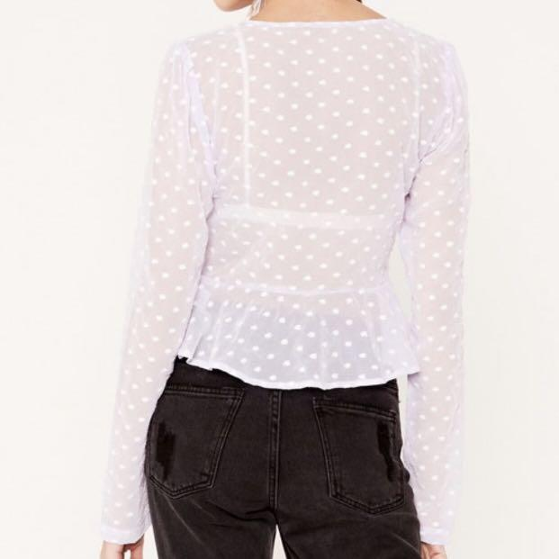 Glassons black floral embroidered mesh tie top long sleeve with ruffles
