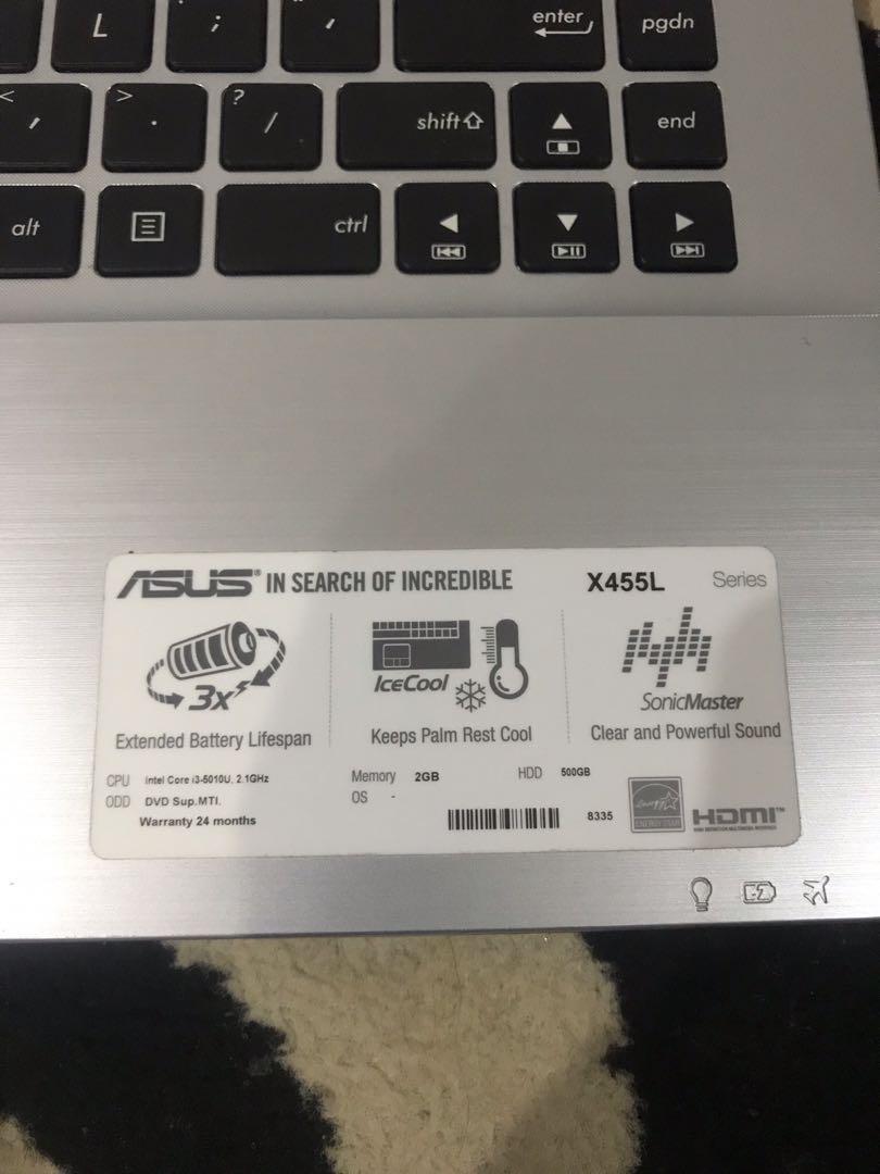 Jual BU Laptop Asus X455L   Intel Core i3   Ram 2GB   HDD 500GB   Mulus Banyak Bonus