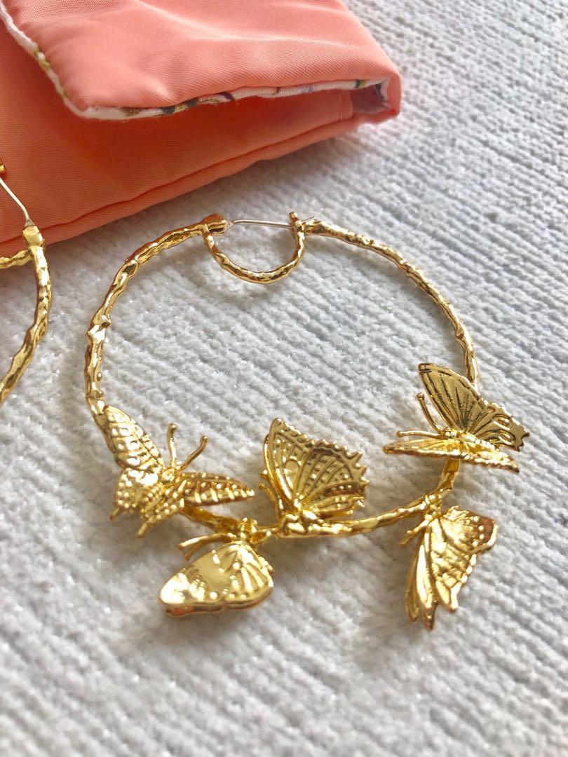 Les Néréides 自然女神系列 絕版蝴蝶圈型耳環 Butterflies gold-plated hoops (wedding/婚禮飾物) Les Nereides/LN