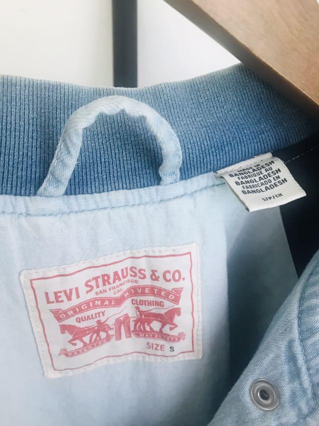 Levis牛仔丹寧刷白棒球外套