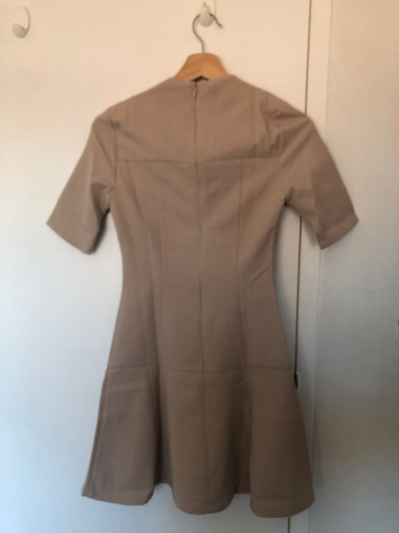 LOVEBONITO   Beige Fluted Dress   Size CS (4)   NEW AND IN ORIGINAL PACKAGING!!