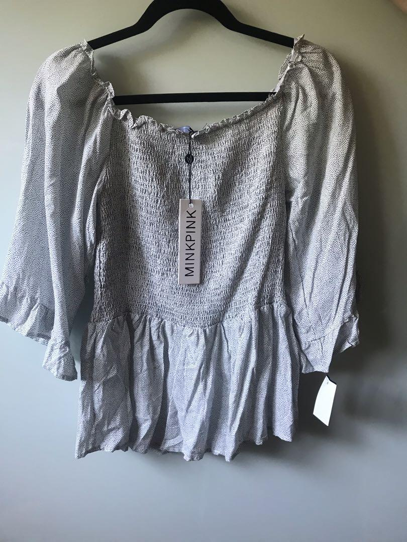 Mink Pink polka dot off-the-shoulder blouse - NEW - AU10/M