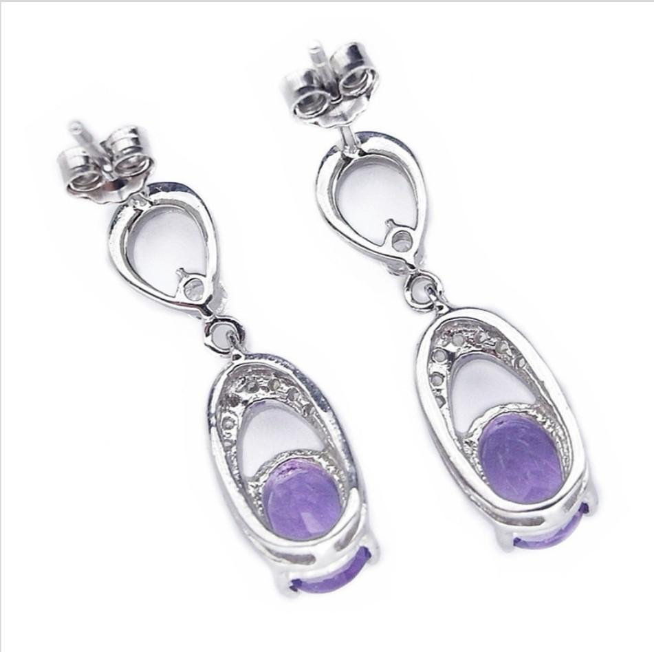 NATURAL EARRINGS amethyst purple studs plated WHITE GOLD 925 STERLING PERAK ASLI IMPORT PARTY SUBANG anting