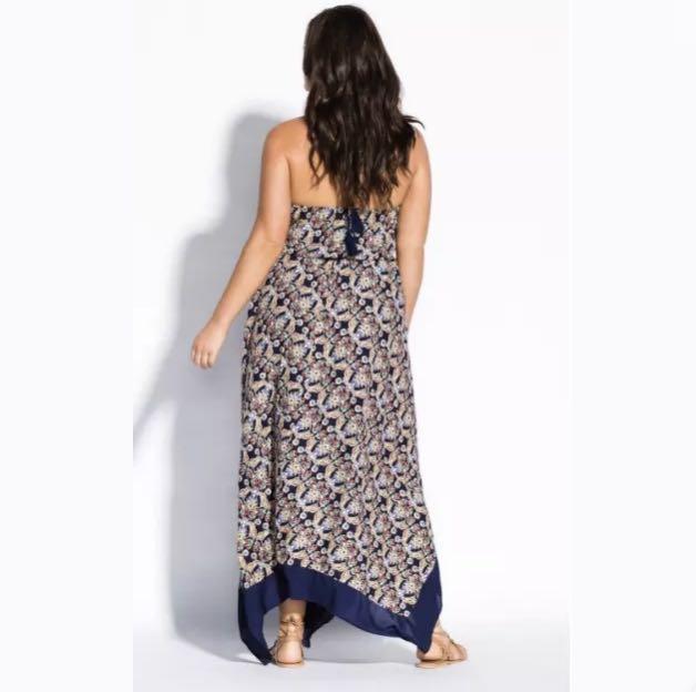 NWT City Chic Floral Blue Boho Border Hem Maxi Dress sz L/20