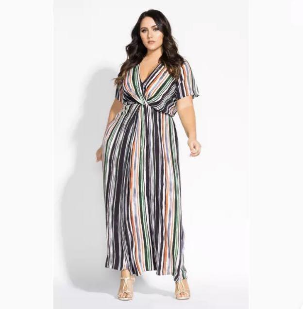 NWT City Chic Jungle Stripe Maxi Dress sz 16 Small Multi Stripe