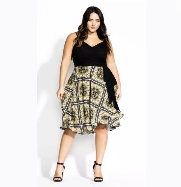NWT City Chic Scarf Dress sz 18 M 22 XL Black Yellow