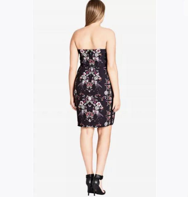 NWT City Chic strapless Dress sz 22 XL Black Floral