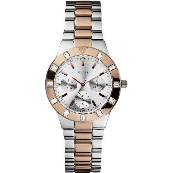 *REDUCED* AUTHENTIC LADIES GUESS GLISTEN WATCH SILVER & ROSE GOLD