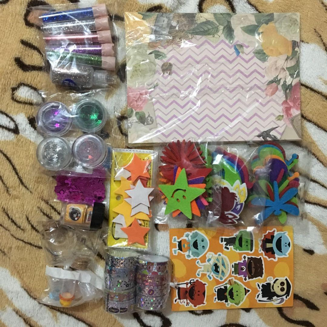 -TAKE ALL FOR P250- Unused/Used Art/Craft Materials (glitters, glass/plastic bottles, scrap book papers, felt paper decals, stickers, and washi tapes)