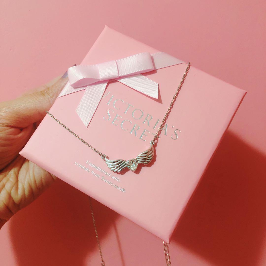Victoria's secret heart wings necklace crystal from Swarovski 心型石 水晶 羽翼 頸鏈 施華洛