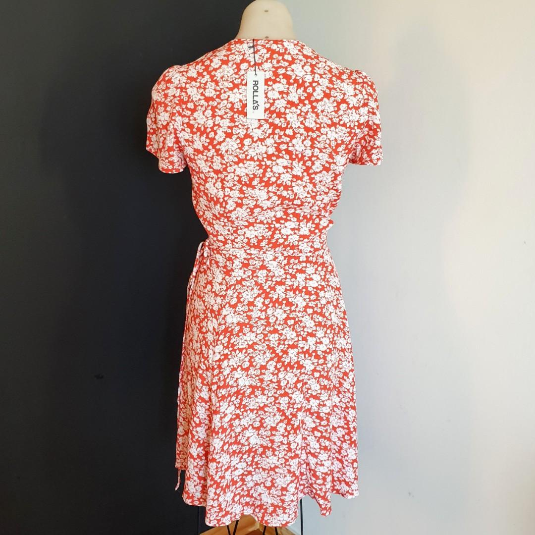 Women's size S 'ROLA'S' Gorgeous red blossom short sleeve wrap dress- BNWT RRP$140