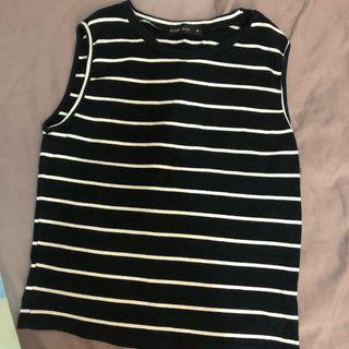棉質黑白條紋背心 size:M