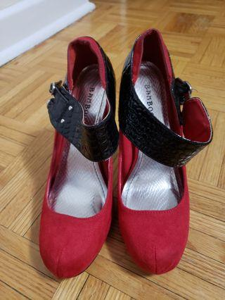 Bamboo Shoes Red/Black 7.5