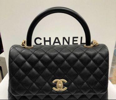 全新 Chanel 金錬 Handle 中款 28 公分 手提肩背包