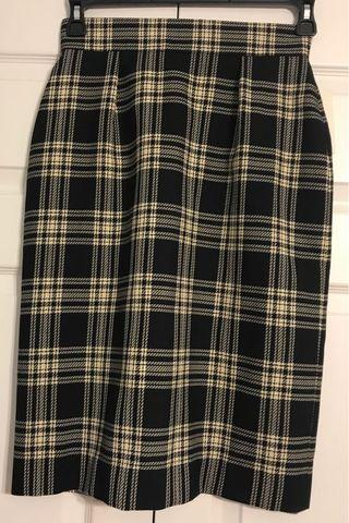 Checkered Wool Skirt (new, tags on) (Size 8)