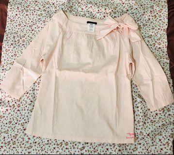 專櫃女裝品牌 Seraph Blanc 粉色蝴蝶結 7分袖襯衫 短版上衣