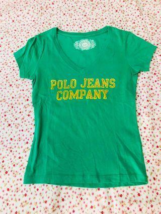 專櫃購入 polo jeans company logo印花短袖T恤 綠色短袖棉T 短袖V領上衣 100%棉T 純棉上衣