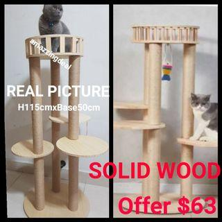 Cat Condo Solid Wood Tree Limited Edition Design  with scracth post Sisal rope Natural,  not cat cage cat food bowl tent bed cushion
