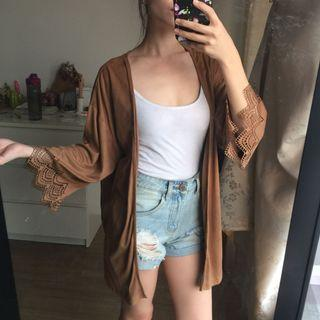 Suede Lace Ended Cardigan