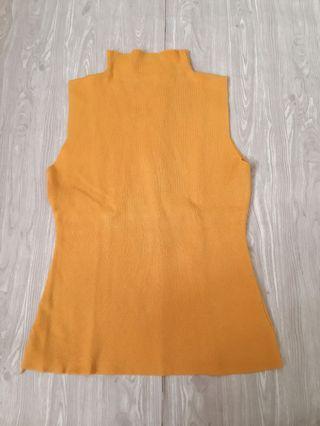 Mustard turtleneck knit top
