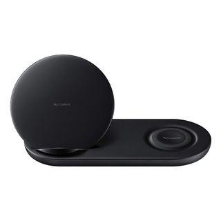 Samsung Wireless Charger Duo Fast Charge Stand & Pad Universally Compatible with Qi Enabled Phones and Select Samsung Watches (US Version), Black/White