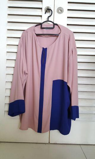 Plus Size Blouse (Nude Pink/Royal Blue)