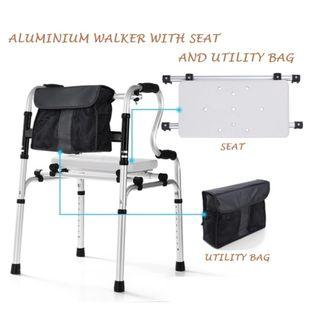 WALKER /WALKING FRAME, ALUMINIUM DOUBLE HANDLE, WITH SEAT.