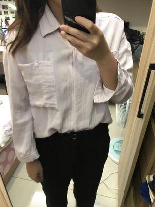 二手 淡藕色慵懶襯衫