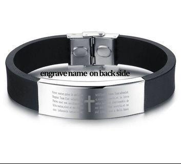 [PREORDER] 🆕🆒 Stainless Steel Black Silicone Bracelets For Men Punk Cross Bracelets & Bangles 16MM Wide Bangle Engrave Name