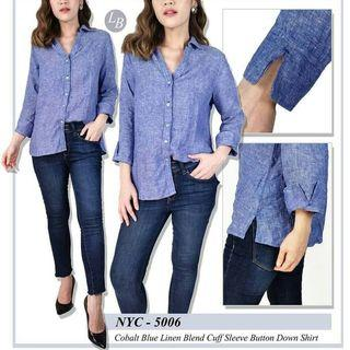 Top Blouse NYC Blue Linen Blend Cuff Denim Shirt