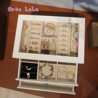 Oreo LaLa 🐈現貨 歐式感三層實木珠寶盒飾品盒收納盒絨布手環手鍊手鐲櫥窗墨鏡都市簡潔