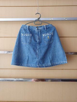 Vintage Tweety A-line Denim Skort Jeans (Shorts and Skirt)