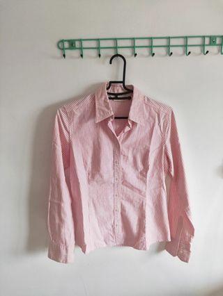 粉紅條紋襯衫(污點)
