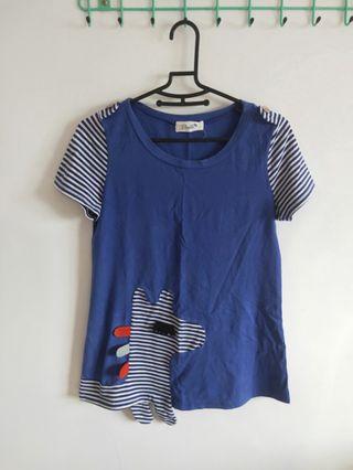 斑馬/靛藍/超彈性棉質T-shirt
