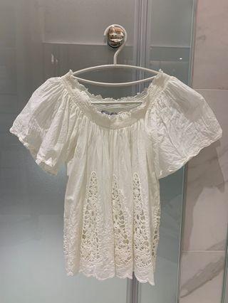 全新 Zara 平口繡花上衣