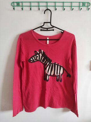 斑馬/棉質長袖T-shirt /桃紅色