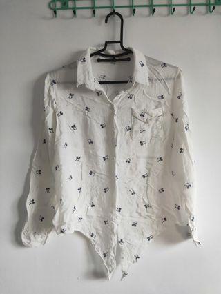 米奇棉質襯衫/綁下襬
