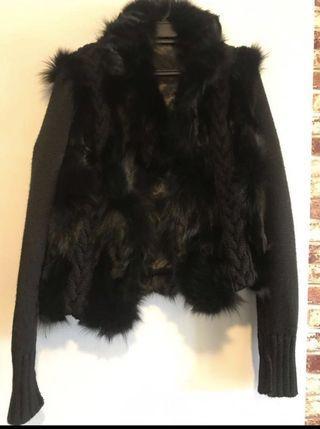 Genuine rabbir fur jacket knitted wool