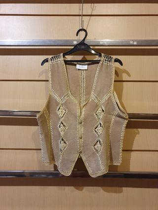 Rare Vintage Unisex Beige Suede Yellow Crochet Detail Vest