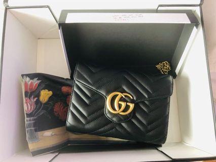 Gucci GG Marmont Matelassé Leather Wallet on a Chain Handbag