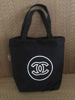 Chanel Precision Round CC logo complimentary canvas tote bag