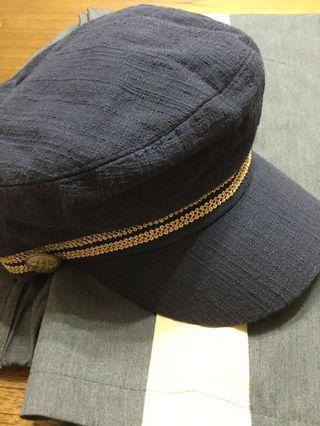二手帽-藏青色、深藍色海軍帽報童帽-韓國製-
