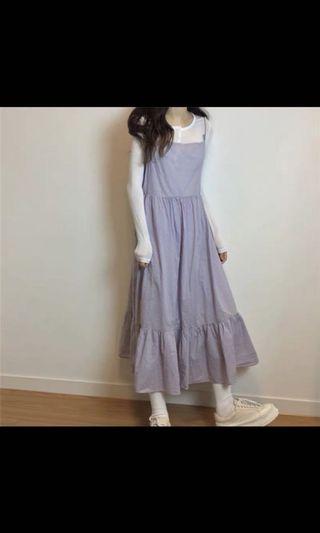 全新 紫色蛋糕裙綁帶洋裝