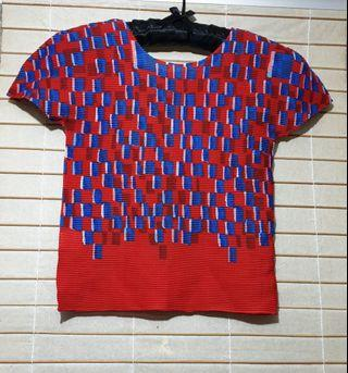 Issey Miyake Pleats Please Blouse (red-blue)