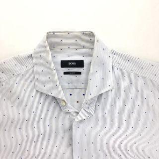 Hugo boss 白色條紋圓點長袖襯衫 上班襯衫 名牌襯衫 防皺襯衫 40A 153/4