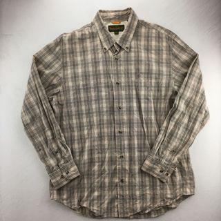Timberland 駝色格紋長袖襯衫 古著 男L