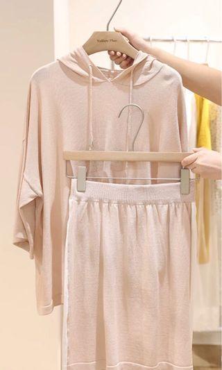 超薄針織涼爽2件式洋裝 杏 350含運