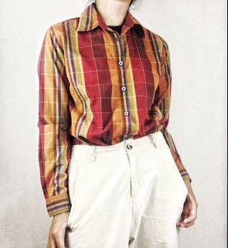 Marlboro Classic 紅色格紋復古長袖襯衫 古著 女 S